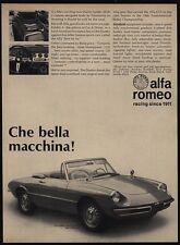 1968 ALFA ROMEO DUETTO SPIDER Convertible Car - Che Bella Meccina - VINTAGE AD