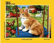 SEG de Paris Tapestry/Needlepoint Canvas – Cat on the Swing (La Balancoire)
