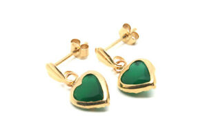 9ct Gold Green Agate Drop earrings 6mm Heart Gift Boxed Made in UK