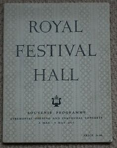 Royal Festival Hall, Opening and Inaugural Concerts programme 3-9 May 1951
