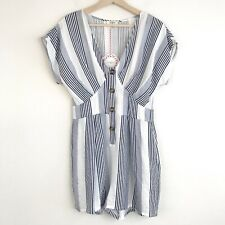 Umgee Women's Blue Striped Romper With Pockets Size Small