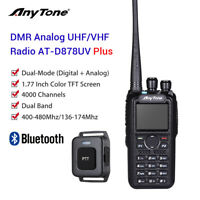 AnyTone AT-D878UV Plus 4000CH GPS Dual Band DMR/Analog BT PTT Radio w/ Antenna
