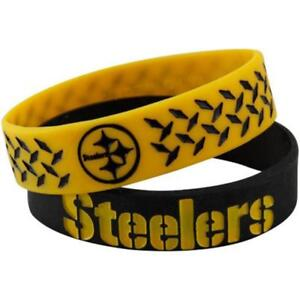 2-pk Official NFL Pittsburgh Steelers Elastic Bracelets Bulk Bandz FAST! B55