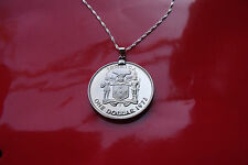 """RARE 1973 JAMAICAN PROOF Island Coin on a 30"""" 925 Sterling Silver Wavy Chain"""