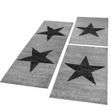 Bettumrandung Läufer Teppich Stern Motiv Meliert In Grau Schwarz Läuferset 3Tlg