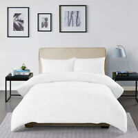 Luxury Brushed Cotton White Duvet Cover Set Single Double King Size Pillow cases
