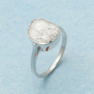 0.70 Ctw Solitaire Engagement Diamond Polki Ring 925 Sterling Silver Sz.9.5