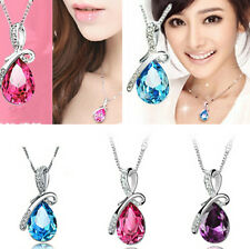 Rhinestone Crystal Waterdrop chain Necklace Pendant Wedding party rose red hs