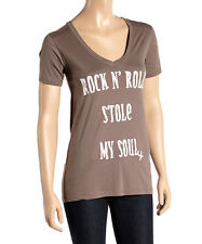 JUNK FOOD GRAPHIC TEE ROCK N' ROLL STOLE MY SOUL V NECK T-SHIRT TOP M