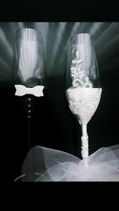 Wedding Bride and Groom Champagne Flutes Glasses