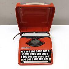 1967 vintage CURSIVE hermes baby rocket typewriter orange portable case working