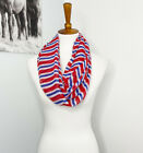 Striped Infinity Scarf Patriotic Red White Blue