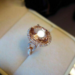 4.50Ct Oval Cut Morganite Halo Engagement Ring Solid 14K Rose Gold Finish