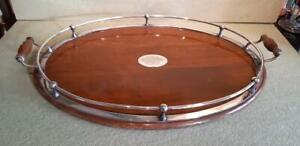 Antique 1926 Wood & Silver Plated Gallery Tray Gift Vivian House Abertillery