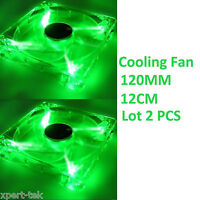 Lots 2 120mm 4-LED Light Neon Quite Clear PC Computer case Bearing Fan Cooling