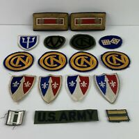 Vintage Lot Of 17 US Military Patches And Shoulder Badges Assorted Lot