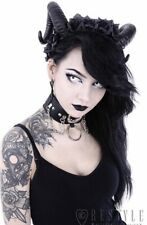 Restyle Black Sinister Ram & Roses Horns Headband Goth Demonic Satan Pagan