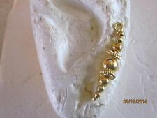 Pair Gold With Different Gold Beads Ear Vines, Sweeps, Pins Earrings #8