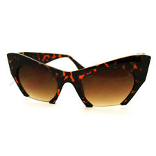 Modern Fashion Sunglasses Angled Cateye Cropped Lens Frame Tortoise