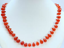 carnelian NECKLACE Precious Stone Faceted chain Drop orange approx. 198 kt