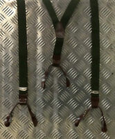 Genuine Czech Army Green Braces with Leather Buckles - Adjustable - Brand NEW