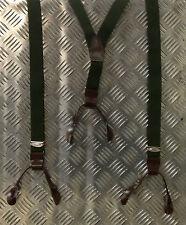 Echt TSCHECHISCHE ARMEE GRÜN Hosenträger mit Leder Schnallen - verstellbar -
