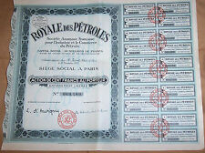 Original France 1927 Society Royal OIL 100 francs all coupons Uncancelled