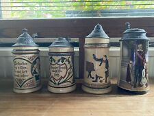 More details for vintage german beer stein / tankards with pewter lids x 4