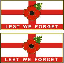 """2 POPPY CAR STICKERS WITH ST GEORGE CROSS """"LEST WE FORGET"""" - England Flag"""