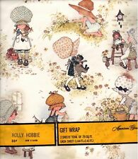 Vintage Holly Hobbie Gift Wrap American Greetings 2 Sheets 7.9 Sq. Ft.