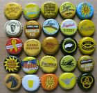 25 DIFFERENT SHADES OF YELLOW THEMED WORLDWIDE BEER BOTTLE CAPS LOT #2