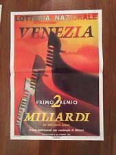 POSTER MANIFESTO,LOTTERIA NAZIONALE VENEZIA 1992, GONDOLA, F.ABBATI ART