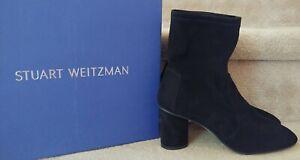 Stuart Weitzman Black Stretch Suede Margot 75 Ankle Boot NIB $575 Size 9.5