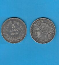 // Gouvernement de Défense Nationale 5 Francs Cérès argent 1870 Bordeaux Ancre