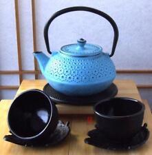 Cups, leaf coasters, Trivet & Cast Iron Daisy Blue Tetsubin teapot kettle 0.6L