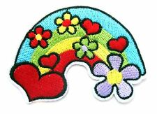 Rainbow Hearts & Flowers Iron On Patch- Peace Badge Hippy Embroidered Applique