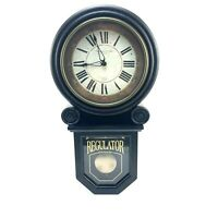 Black Wall Grandfather Clock Regulator With Glass Decoration With Instructions