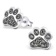 ICYROSE Sterling Silver Gray Crystals Paw Print Kids Women Stud Earrings 2599