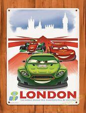 """TIN-UPS Walt Disney Tin Sign """"Cars London"""" Movie Ride Art Poster"""