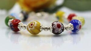 Glass Jewels Silber Armband Perlen Millefiori Sommer Bunt Länge 19 cm #G051