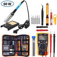 Electric Soldering Iron Gun Tool Kit 60W Welding Desoldering Pump Set Stand 110V