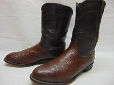 Mens 9 XE Larry Mahan Cigar Smooth Ostrich Leather Roper Western Cowboy Boots