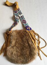Vtg Native American Indian Beaded Leather Fur Medicine Tobacco Pouch Bag Signed