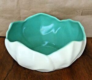 Vintage Catalina Island Art Pottery Ivory & Green Bowl