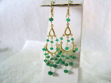 Vintage 14K Yellow Gold Hand Cut Natural Emerald Bead Hook Earrings 2.5 inch