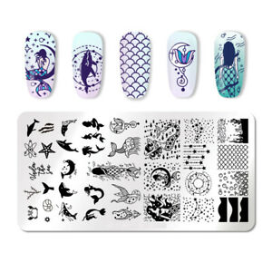 Summer Nail Art Stamping Plates Mermaid Dolphin Stars Bubbles Stamp Stencil AU
