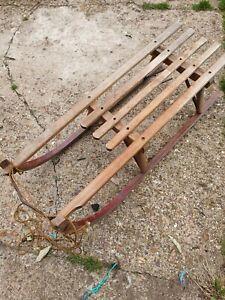 Vintage Traditional Wooden Snow Sledge Sleigh Taboggan DAVOS GERMINA made in GDR