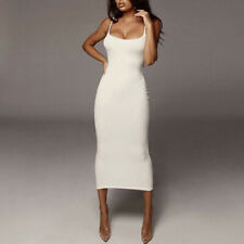 Women Sexy Sleeveless Strappy Slim Fit Solid Clubwear Party Long Bodycon Dress