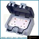 Outdoor Garden Waterproof Switched 13Amp 1 2 Gang Switch External Wall Sockets