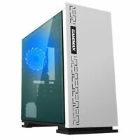 Game Max Expedition White mATX Gaming PC Case ATX Micro Blue LED Fan Side Window
